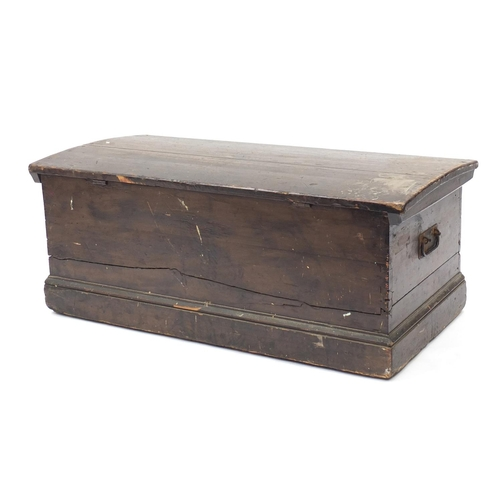 31 - Victorian pine blanket box with candle tray, 40cm H x 100cm W x 46cm D...