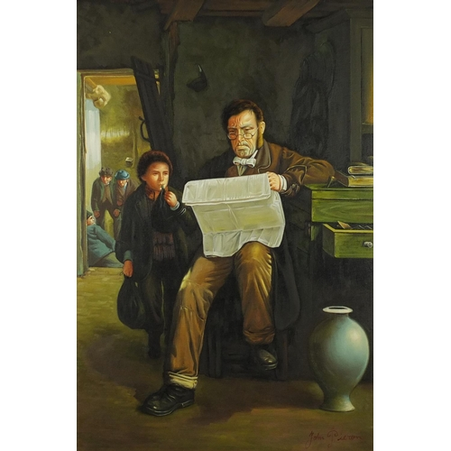 2060 - Gentleman reading in an interior, with a young boy, oil on canvas, bearing a signature John Pieron, ...