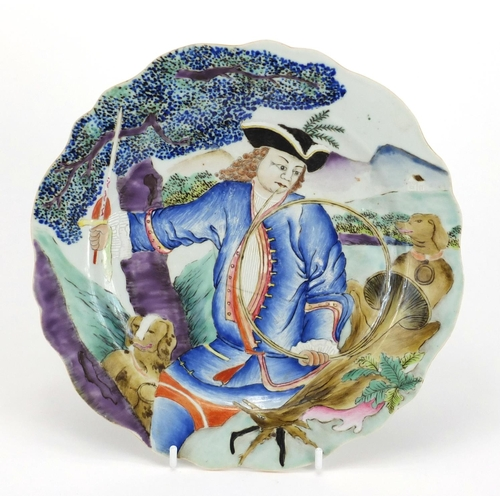 174 - Good Chinese porcelain plate finely hand painted with a huntsman holding a horn and sword with two d...