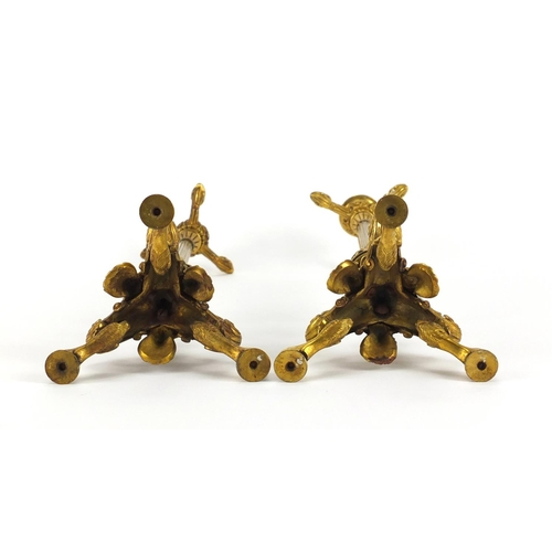 2 - Pair of 19th century ormolu candlesticks with reeded columns, lion masks and claw feet, each 34.5cm ...