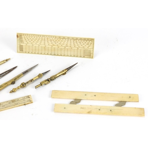 24 - George III shagreen etui housing ivory and brass implements, 17cm high...