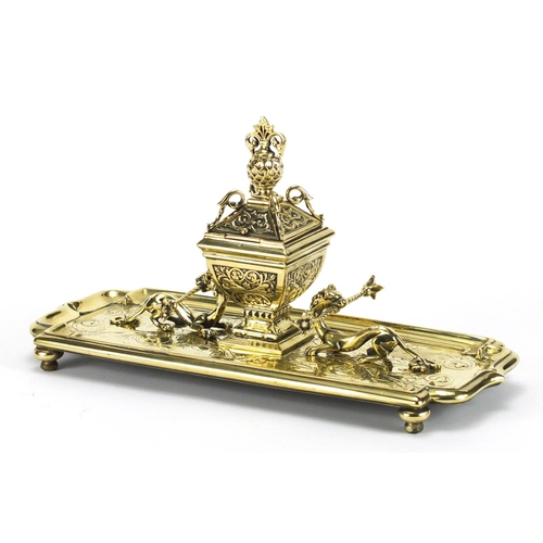 4 - Gilt brass dragon design desk stand with inkwell and glass liner, 33.5cm wide...