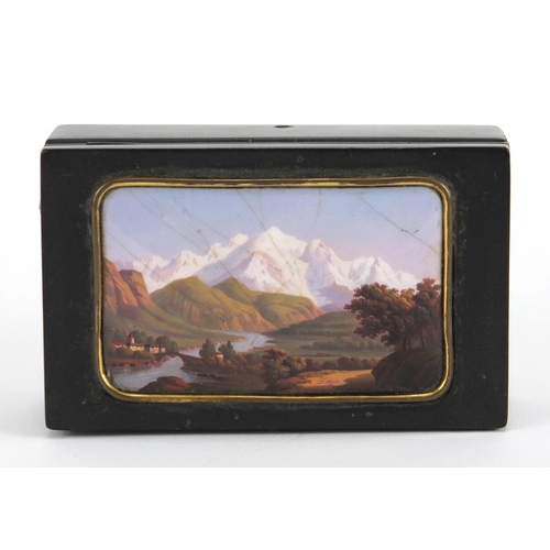54 - Rectangular Swiss music box, the hinged lid inset with an enamelled panel hand painted with a contin...