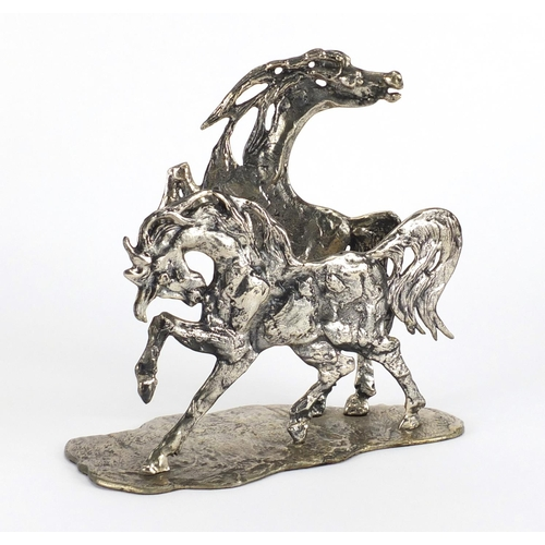 491 - Aligi Sassu, 800 grade silver sculpture of two horses, limited edition 27/650, impressed marks to th...