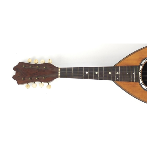 52 - 19th century rosewood mandolin by G Grandini with ivory keys and fitted case, 61cm in length...