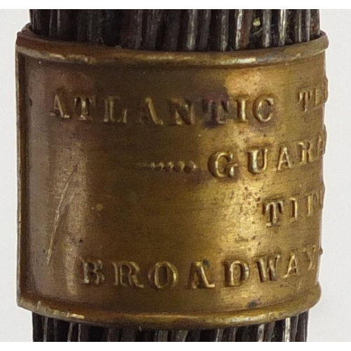 43 - Atlantic Telegraph cable section guaranteed by Tiffany & Co, Broadway New York 1858 with paper and b...