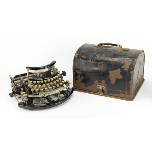 48 - Early 20th century Imperial model B portable typewriter with tin case, numbered 18773, 34.5cm wide...