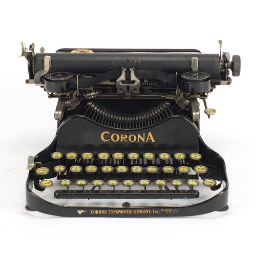 50 - Vintage Corona portable typewrite with case, patented July 10th 1917, 29cm high...