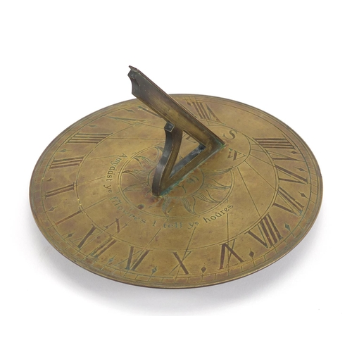 8 - Georgian bronze sundial with Roman numerals, engraved Amyddst Ye Fflowres 1 Tell Ye Houres, 20cm in ...