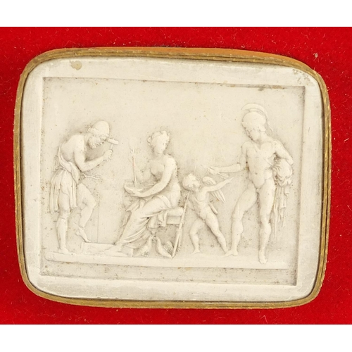 45 - Two sets of nine Italian grand tour plaster cameo's, the largest 6.5cm x 6cm...