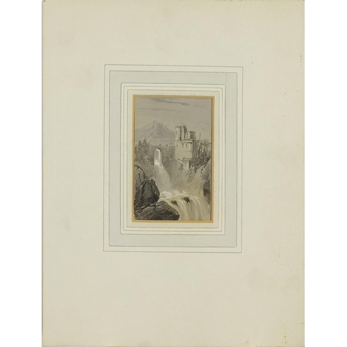 750 - Edward Lear - Castle by a waterfall with a mountain beyond, heightened watercolour and black chalk, ...