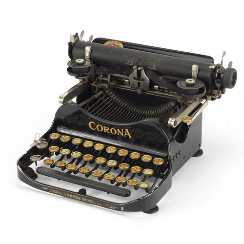 49 - Vintage Corona portable typewriter with case, patented July 10th 1917, 27cm wide...