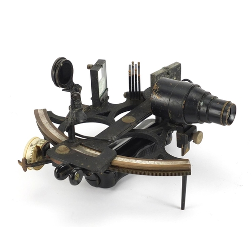 35 - Henry Hughes & Son sextant, housed in a mahogany case, numbered 49624, 23cm wide...
