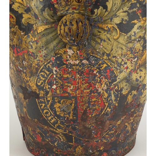 46 - Georgian metal studded leather fire bucket, hand painted with Royal Coat of Arms, 26cm high...