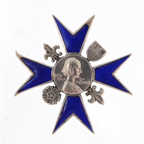 44 - Florence Nightingale School of Nursing silver and enamel badge, with silk and velvet lined tool leat...