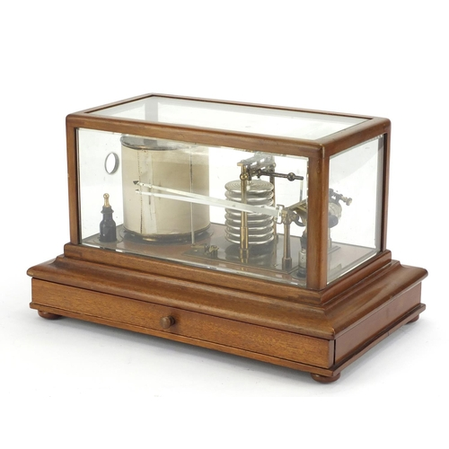 47 - Negretti & Zambra barograph housed in a mahogany case with base drawer, registered number 476369, 22...