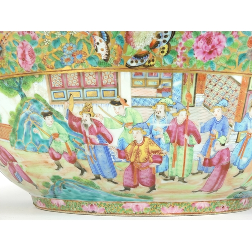 173 - Large Chinese porcelain Canton punch bowl, the exterior finely hand painted in the famille rose pale...