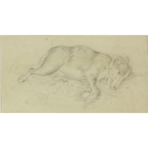 749 - George Chinnery - Sleeping hounds, pencil drawing, mounted and framed, 27.5cm x 14.5cm...