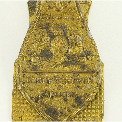 30A - Early Victorian Merry Phipson & Parkers letter clip with coat of arms, 15.5cm in length...