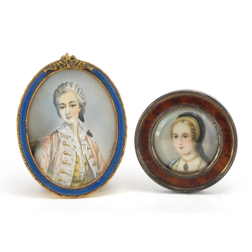 22 - Two portrait miniatures of young females including one housed in a blue guilloche enamelled easel fr...