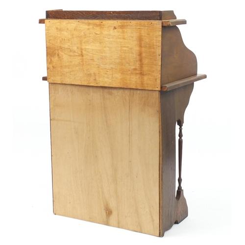 10 - Oak tambour front students bureau, 106cm H x 70cm W x 47cm D...