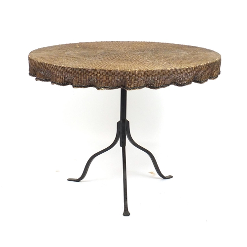 18 - Rattan and wrought iron conservatory table with four chairs...