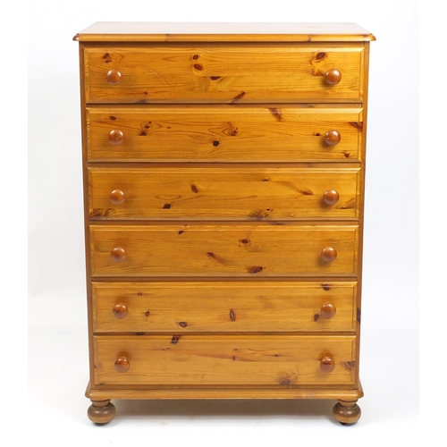 29 - Pine six drawer chest, 122cm H x 86cm W x 45cm D...