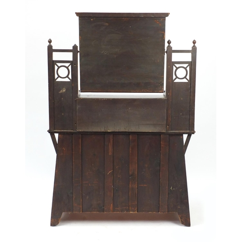 19 - Arts & Crafts oak dressing table with swing mirror above a series of six drawers, 160cm  x 108cm W x...
