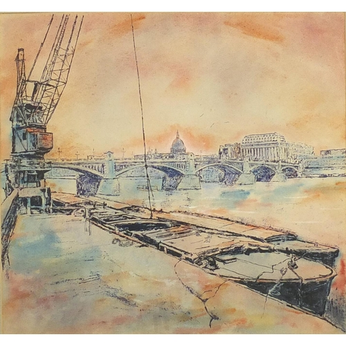 41 - Moored boats on the River Thames, watercolour, bearing a signature, possibly Hotbauer, 55cm x 51cm s...