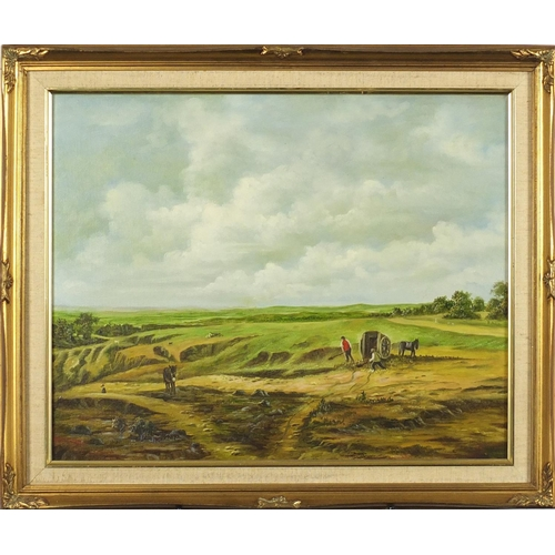 42 - Farmers and workhorses before an extensive landscape, oil on canvas, framed, 50cm x 40cm...