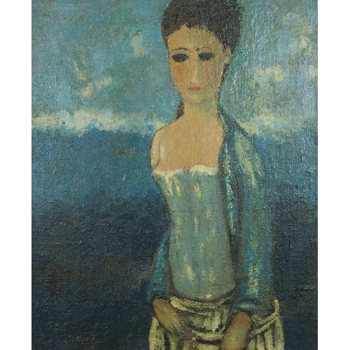 2058 - Surreal portrait of a standing female, oil on board, bearing a signature D'O-Neill, framed, 54.5cm x...