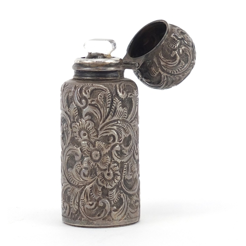 38 - Victorian silver scent bottle embossed with flowers by C C May & Sons, Birmingham 1897, 6.8cm high, ...