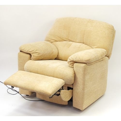 2055 - Beige upholstered electric reclining armchair, 105cm high...