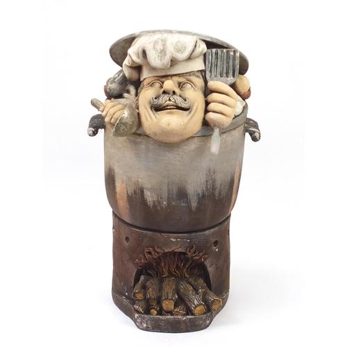 32 - Chef in a cooking pot design bin, 86cm high...