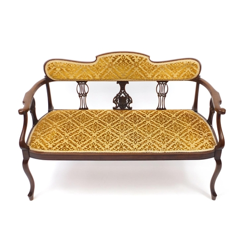 2038 - Edwardian mahogany salon settee with gold floral upholstery, 122cm wide...