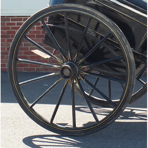 2001 - Horse drawn cart with two carriage lanterns, 135cm High, 170cm wide, 315cm long, including poles. Th...