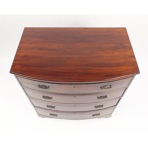2021 - Georgian mahogany bow front four drawer chest with bracket feet, 99cm H x 91cm W x 55cm D...