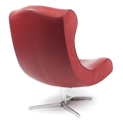 2004 - Contemporary French red leather chair by Ligne Roset, 102cm high...