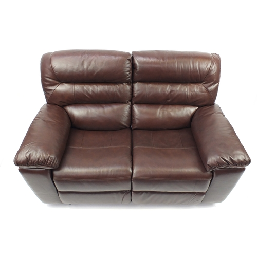 2011 - Brown leather electric reclining two seater  settee, 155cm wide...