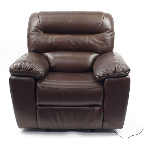 2012 - Brown leather electric reclining armchair, 100cm wide...