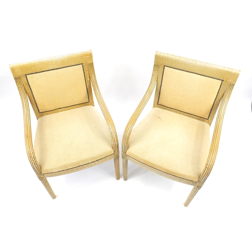 2057 - Pair of French style Shabby Chic open armchairs with beige upholstery, 91cm high...