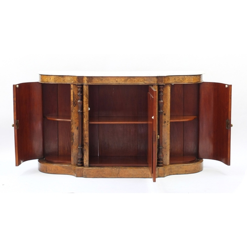 2009 - Victorian inlaid burr walnut Credenza with marble top above a pair of curved cupboard doors flanking...