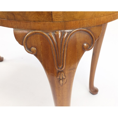 2044 - Waring & Gillow walnut kidney shaped dressing table with three drawers, on carved cabriole legs, 76c...