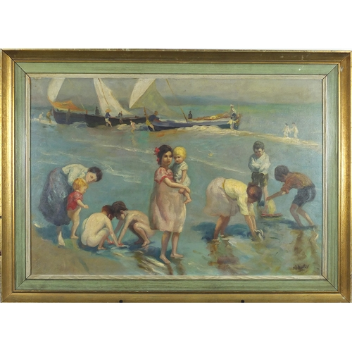 2059 - Figures on the beach, French impressionist oil on board, bearing an indistinct signature possibly Ag...