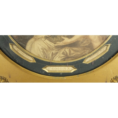 45 - J Bartolozzi - Pair of circular coloured engravings, Pomona and Ceres, each mounted and framed, 18cm...