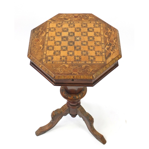 6 - Victorian inlaid walnut sewing/games table, 75cm high...