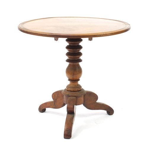 11 - Victorian walnut tilt top table 74cm H x 18cm diameter...