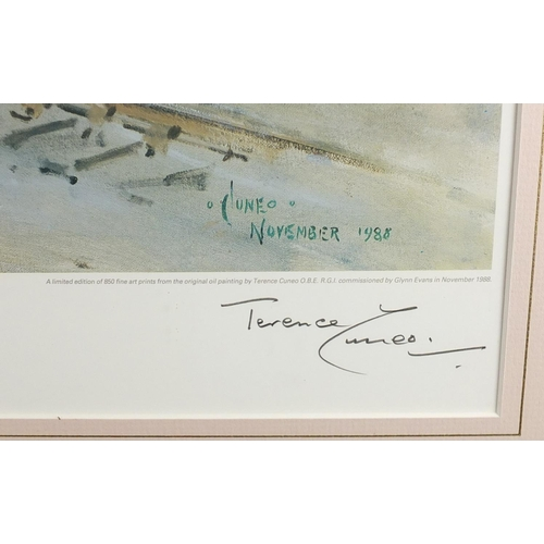 32 - Terence Cuneo - Pencil signed limited edition railway print, Ready To Roll, mounted and framed, 68cm...