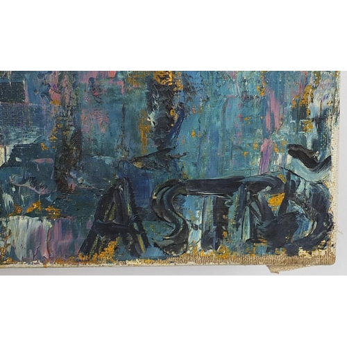 30 - Abstract composition, cityscape, oil on canvas, bearing an indistinct signature possibly Astrad, unf...