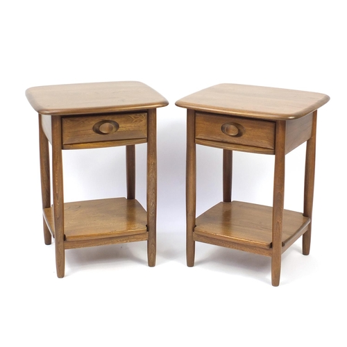 2 - Pair of Ercol elm Windsor lamp tables, each with frieze drawer and under tier, 65cm H x 49cm W x 44c...